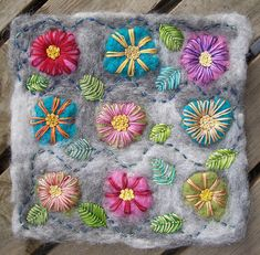 felted, embroidered flower panel