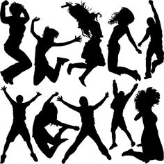 FREE jumping people silhouettes vector