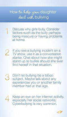 Bullying is difficult to deal with. These talking points can help open up the conversation with your daughter.