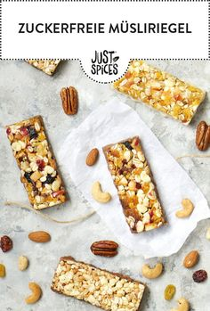 Make sugar-free granola bars yourself. Low Carb Healthy Cuisine Recipes Without Sugar Granola Bars Nuts Cashew Kernels Almonds Hazelnut Breakfast Snack Powerfood Healthy Snacks To Buy, Diabetic Snacks, Easy Snacks, Keto Snacks, Easy Desserts, Lunch Snacks, Sugar Free Granola, Law Carb, Cena Keto