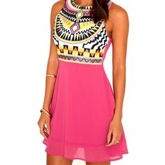 Pink Aztec Dress Pink Aztec print dress! Size 8, however definitely fits smaller than a regular 8. I would *personally* say this is in between a small and medium and fits more like a 4. Zips up in the back.NO TRADES Missguided Dresses