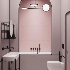 """1,106 mentions J'aime, 14 commentaires - ELLE Décoration France (@elledecorationfr) sur Instagram : """"On adore cette jolie salle de bains parisienne noire et rose poudré. Parfaite, vous ne trouvez pas…"""""""