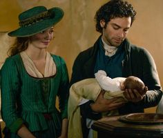 Ross and Demelza Poldark with their baby #Poldark