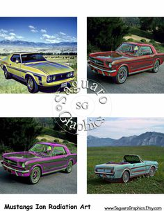 Mustangs Ion Radiation Glow Altered Art - Coasters Artwork, 4.0 inch Squares…