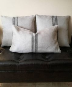 Grain Sack Pillow Cover with Black Stripe - Pure Linen Throw Pillow - Linen Decorative Pillow - Grey Cushion Cover - Organic Pillowcase Large Pillows, Decorative Pillows, Throw Pillow Covers, Throw Pillows, Grey Cushion Covers, Burlap Pillows, Grain Sack, Bedroom Styles
