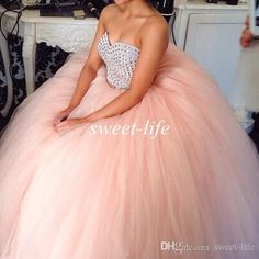 2015 Cheap Ball Gown Quinceanera Dresses Blush Pink Tulle Sweetheart Beads Sweep Train Custom Made Sweet 16 Prom Dress Gowns for Quinceanera Online with $117.76/Piece on Sweet-life's Store | DHgate.com