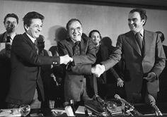 Marzo de 1977. Cumbre Eurocomunista celebrada en Madrid. En la foto, de izquierda a derecha: Enrico Berlinguer, líder del Partido Comunista Italiano (PCI); Santiago Carrillo, secretario general del Partido Comunista de España (PCE); y Georges Marchais, líder del Partido Comunista Francés (PCF).  La vida de Santiago Carrillo, en imágenes | Fotogalería | Política | EL PAÍS