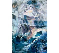 "Dimitra Milan's ""Breath of Providence"" features a portrait of a young woman immersed in an atmospheric seascape."