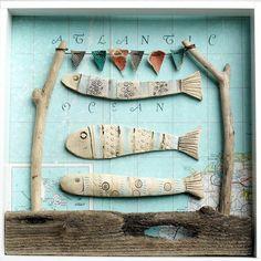 We love the Atlantic - Shirley Vauvelle  earthenware, vintage map & driftwood