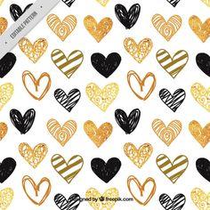 手描きの金色と黒の心のパターン 無料ベクター