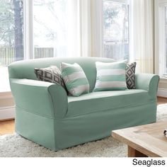 Twill One-piece Relaxed Fit Wrap Loveseat Slipcover - Overstock Shopping - Big Discounts on Loveseat Slipcovers