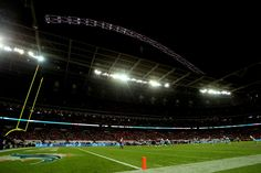 A general view of the action during the NFL match between the Oakland Raiders and the Miami Dolphins at Wembley Stadium on September 28, 2014 in London, England.