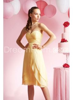Chiffon Sweetheart Strapless Neckline with Rouched Bodice and Slim Short A line Skirt Bridesmaid Dress BM-0147