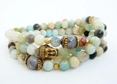 b3cf73633704 108 Mala Necklace Amazonite Necklace Yoga Jewelry Amazonite Bracelet 108  Mala Beads 108 mala bead necklace Buddha Mala Bracelet for women