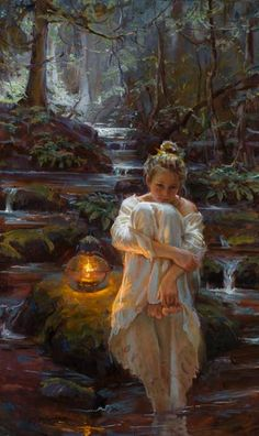 "Cascading by Daniel F. Gerhartz This is one of the most beautiful paintings I've ever seen; maybe I like it because I can ""feel"" it....w."