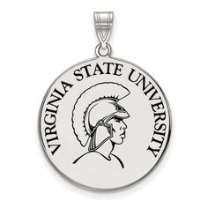 Virginia State University XLarge Enamel Disc Pendant in Sterling Silver by LogoArt.,  Jewelry Type: Pendants & Charms, Material: Primary: Sterling Silver, Material: Primary - Color: White, Material: Primary - Purity: 925, Material: Accents: Enamel, Finish: Polished, Plating: Rhodium, Manufacturing Process: Laser Cut
