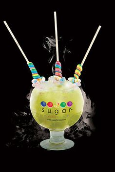 At Miami's Sugar Factory, a brasserie and candy shop rolled into one, the 60-oz tropical drink (with a price tag of $39) is made with a mix of Midori melon liqueur, Bacardi rock coconut rum, Ketel Citroen vodka, pineapple juice and sour mix topped off with Sprite, and garnished with two unicorn lollipops and a candy necklace. Oh, and it's also presented in a cloud of dry ice. Click to see more over-the-top cocktails.