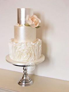 Peach rosette ruffle wedding cake – Famous Last Words Metallic Wedding Cakes, Floral Wedding Cakes, Wedding Cake Rustic, Wedding Topper, White Wedding Cakes, Elegant Wedding Cakes, Wedding Cake Designs, Wedding Favors, Wedding Shoes