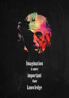 einstein quote imagination inspirational inspire portrait icon science colourful red orange green Celebrities