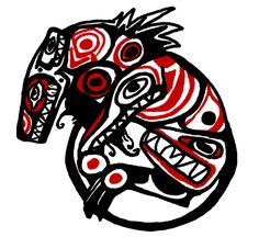 I enjoy drawing Cold in different styles This is a cold/leah version of traditional Haida art. Native Canadian, Canadian Art, Native American Art, Arte Haida, Haida Art, Tlingit, Nature Spirits, Coastal Art, Ancient Symbols