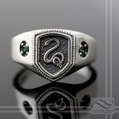 Slytherin House Ring, Harry Potter Inspired ❤ liked on Polyvore featuring jewelry, rings, green jewelry, silver jewellery, silver rings, green ring and silver jewelry