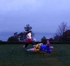 "#Geneva lake from the #amazing @olympicmuseum in #Lausanne with ""The #footballers"" #sculpture by Niki de Saint Phalle"