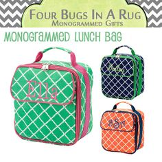 Personalized Lunch Bag -- Back To School - Insulated & Durable Monogrammed Lunch Box on Etsy, $20.00