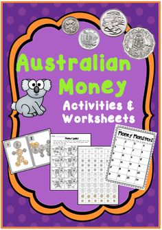 Australian Money Activities and Worksheets --- This resource contains worksheets and activities that teach your students about counting money, and making change. It includes great ideas and activities that can be used straight away! Counting Money Games, Money Activities, Math Resources, Money Worksheets, Kindergarten Worksheets, Printable Worksheets, Free Printable, Teaching Aids, Teaching Math
