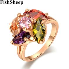 FishSheep Luxury Multi Color Brilliant Cut Stone Crystal Rings For Women Forever Rose Gold Color Big Wedding Rngs Bijoux Femme #Affiliate