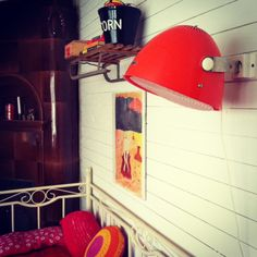 DIY hair dryer wall lamp and sled shelf