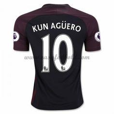 Fodboldtrøjer Premier League Manchester City 2016-17 Kun Aguero 10 Udebanetrøje