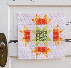 "Super nice ""Squash Blossom"" block by Anita of the Bloomin' Workshop."