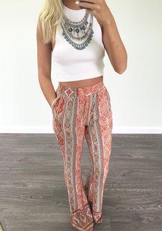 Orange Floral Pockets Print Loose Fashion Long Pants - Pants - Bottoms