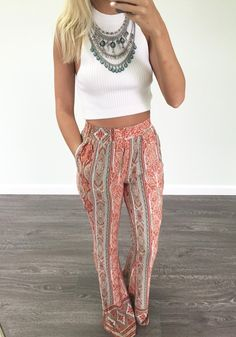 Orange Floral Pockets Print Loose Fashion Long Pants
