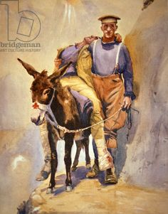 John Simpson Kirkpatrick of the Australian Field Ambulance who with his donkey rescued wounded soldiers at Gallipoli in (colour litho) History Images, Art History, Donkey Rescue, Scout Games, Ww1 Art, Anzac Day, Brush Script, The Donkey, Animaux