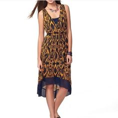 Ikat print dress High low. Navy and gold. Worn once. Like new Vera Wang Dresses High Low
