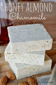 Honey Almond Chamomile Goat's Milk Soap, melt and pour soap recipe by Over the A. - Honey Almond Chamomile Goat's Milk Soap, melt and pour soap recipe by Over the Apple Tree Best Pi - Diy Savon, Soap Melt And Pour, Honey Almonds, Homemade Soap Recipes, Soap Making Recipes, Goat Milk Soap, Lotion Bars, Handmade Soaps, Diy Soaps