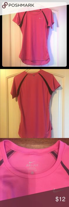 Size small Nike dri fit t-shirt Mesh, breathable, moisture wicking material. Pink with charcoal grey detail. Excellent condition; no stains. Nike Tops Tees - Short Sleeve