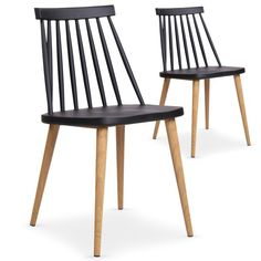 €119- Lot de 2 chaises scandinaves Deauville Noir - Coin du Design