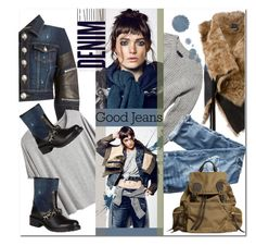 """the wilderness of denim"" by drn57 ❤ liked on Polyvore featuring Philipp Plein, Chicnova Fashion, Ann Demeulemeester, Nili Lotan, J.Crew, Burberry, Alima, Boots, denimjacket and fur"