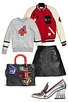 If you aren't rocking patches on your clothing, you aren't living life. High school style is having a major moment, and what better place to rep the look than at a pop concert?  Coach 1941 Classic Varsity Jacket, $795, coach.com; Coach 1941 Embellished 41 Sweater, $350, coach.com; Coach 1941 Leather A-Line Skirt, $695, coach.com; Coach 1941 Varsity Patch Rogue Bag, $895, coach.com; Coach 1941 High Vamp Loafer with Shield, $395, coach.com