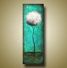 Abstract Tree Painting Modern Round Tree Teal by BrittsFineArt