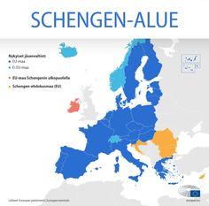 Schengen-alue, eli EU:n vapaan liikkuvuuden alue on yksi eurooppalaisen integraation näkyvimmistä saavutuksista. Places To Visit, Movie Posters, Image, Bulgarian, Maltese, Portuguese, Danish, Dutch, Greek