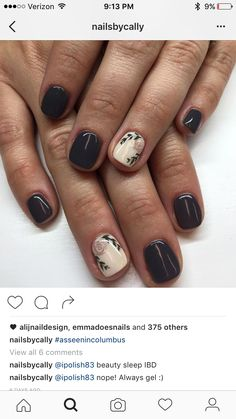Black Nails with an Accent Flower