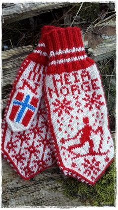 Ravelry: Heia Norge-votten pattern by Jorunn Jakobsen Pedersen Knitting Patterns Free, Free Knitting, Baby Knitting, Wool Gloves, Knitted Gloves, Fingerless Mittens, Knit Mittens, Drops Design, Wrist Warmers