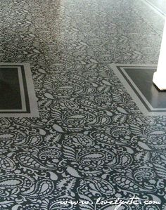 Totally floored by this floor! WOW. I wish I had a floor to refinish so I can do this... but I think our guests will appreciate this stencil more on their walls. To the guest bedroom walls you go, Paisley allover!
