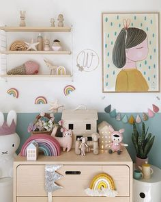 How many rainbows is too many?(Answer: never too many!) Ive been up in the kids room with all my pastelly loveliness today and actually snuck all this lot into what is usually the boys room but love their blue wall against all of this. Its keeping things