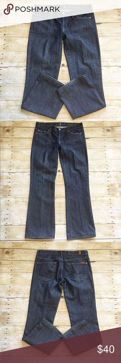 Darkwash 7 For All Mankind bootcut jeans, size 29 Excellent condition 7 For All Mankind bootcut jeans in a size 39. Hardly worn, shows little to no signs of wear. Not too thick of jean material. Waist- approximately 16 inches, rise- approximately 8 inches, inseam- approximately 28.5 inches. 7 For All Mankind Jeans Boot Cut