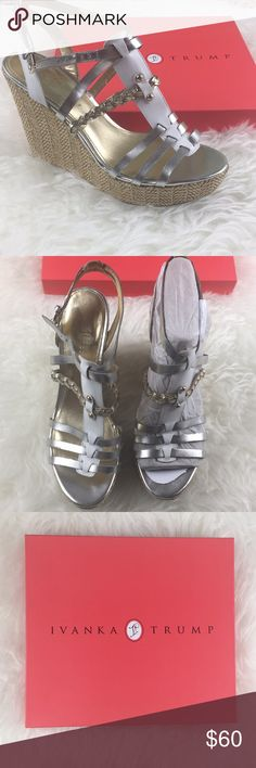 """Ivanka Trump Haiden Sandal Wedge Size 11 Brand new in the box """"Haiden"""" Sandal from Ivanka Trump- never worn- packaging still around one shoe. Leather is white, gold, silver Size 11 Ivanka Trump Shoes Wedges"""