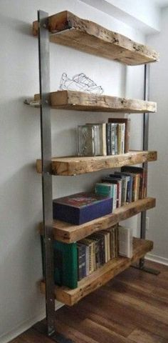 Nice Hand Made Reclaimed Barn Wood and Metal Shelves by TicinoDesign